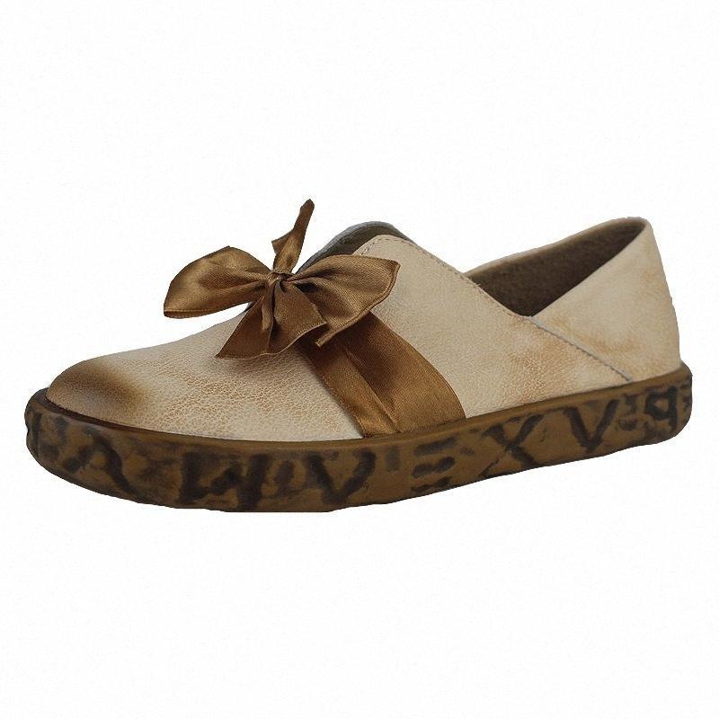 2020 Nueva Hot Spring Mori zapatos de la muchacha retro de la mujer señoras del cuero genuino zapatos de los planos de encaje hasta la manera de las mujeres del cuero ju1c #