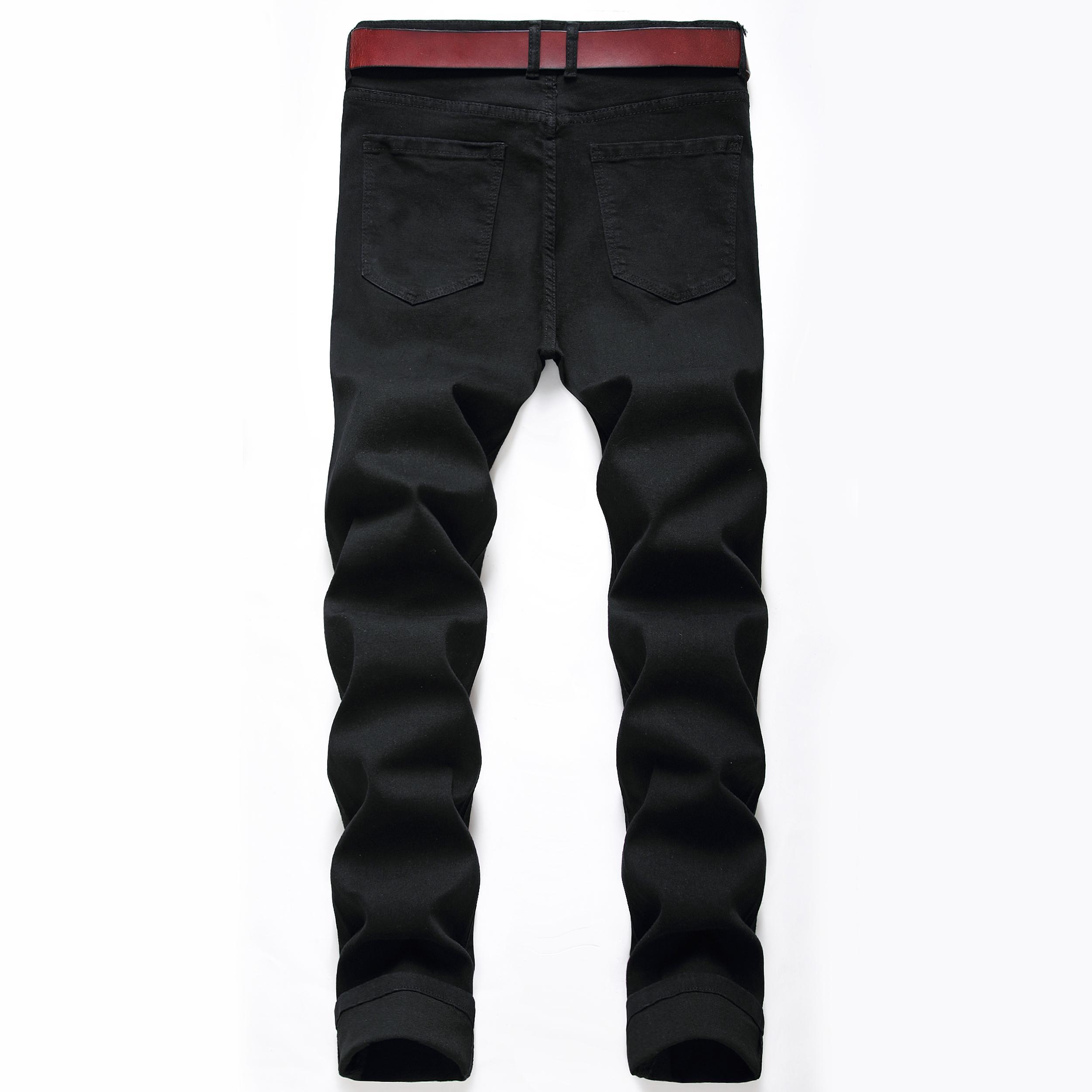 Jeans 2020.7.22New uomini di modo nere strappate scarne Stretch Slim ovest hip hop malloppo denim pantaloni Motociclista Jogger