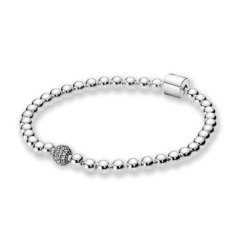 Novas contas de mulheres bonitas quentes pavimentar jóias de verão pulseira para pandora 925 esterlina prata hand chain frisado pulseiras com caixa original