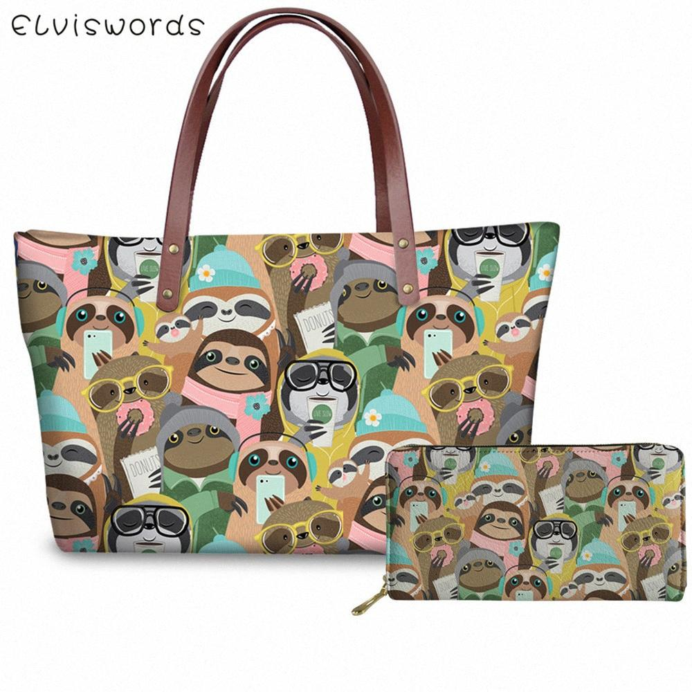 ELVISWORDS Women Pouch Handbags Set Cartoon Sloth Pattern Print Lady Wallet Drop Shopping Bags Girls Funny Sac Main Femme Men Bags Han 947R#