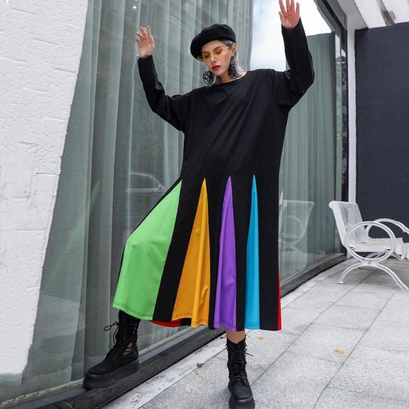Mujeres de la manga rayada colorida Hem vestido grande del tamaño de Nueva cuello redondo larga suelta Fit marea de la moda Primavera Otoño 2020 1D621