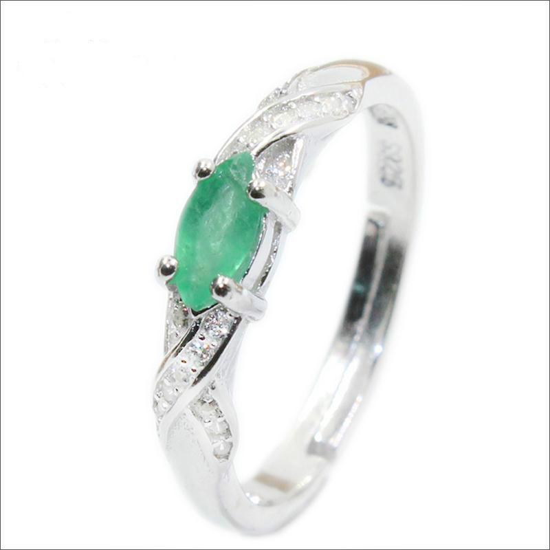 Nueva Moda esmeralda anillo natural de 3 mm * 6 mm genuino esmeralda anillo de plata esterlina de plata esmeralda del anillo de compromiso para la mujer