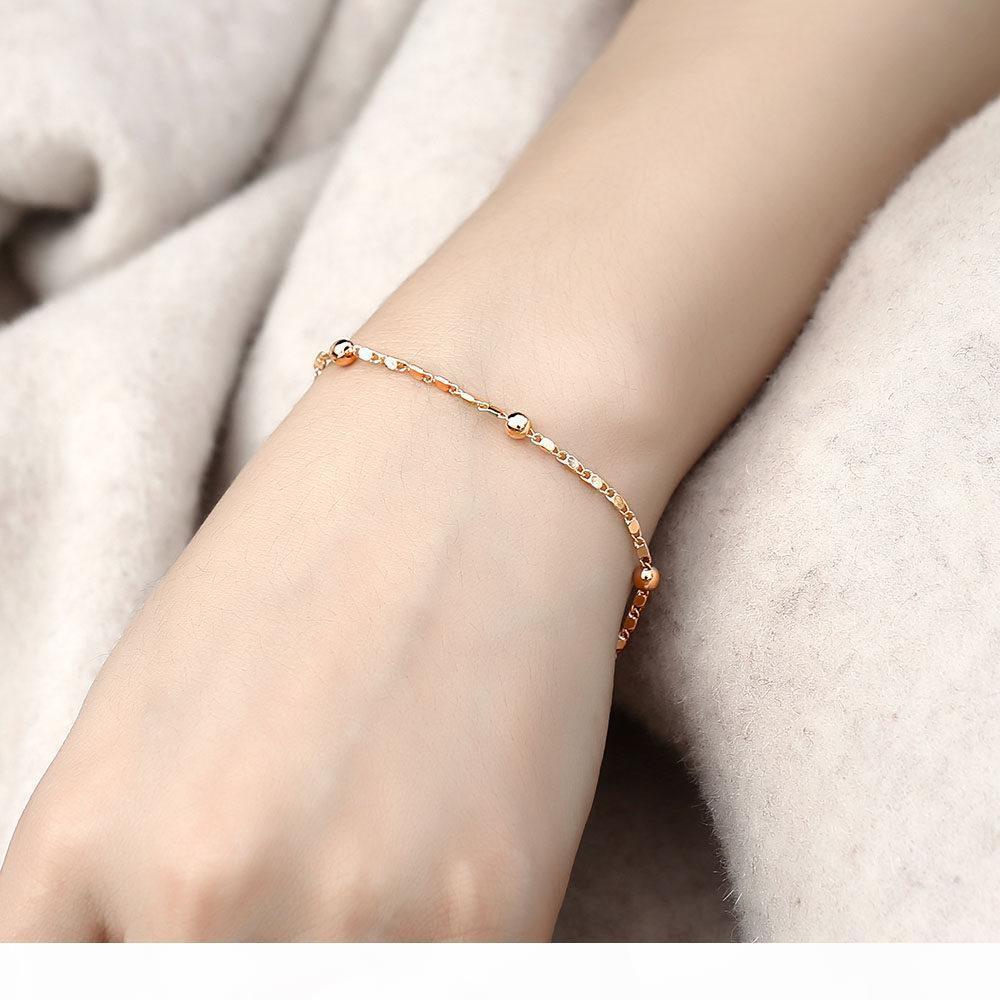 Аксессуары Thin 585 розовое золото комплект ювелирных изделий для женщин Марина из бисера Link цепь браслет ожерелье Set Женщина партии Свадебные украшения