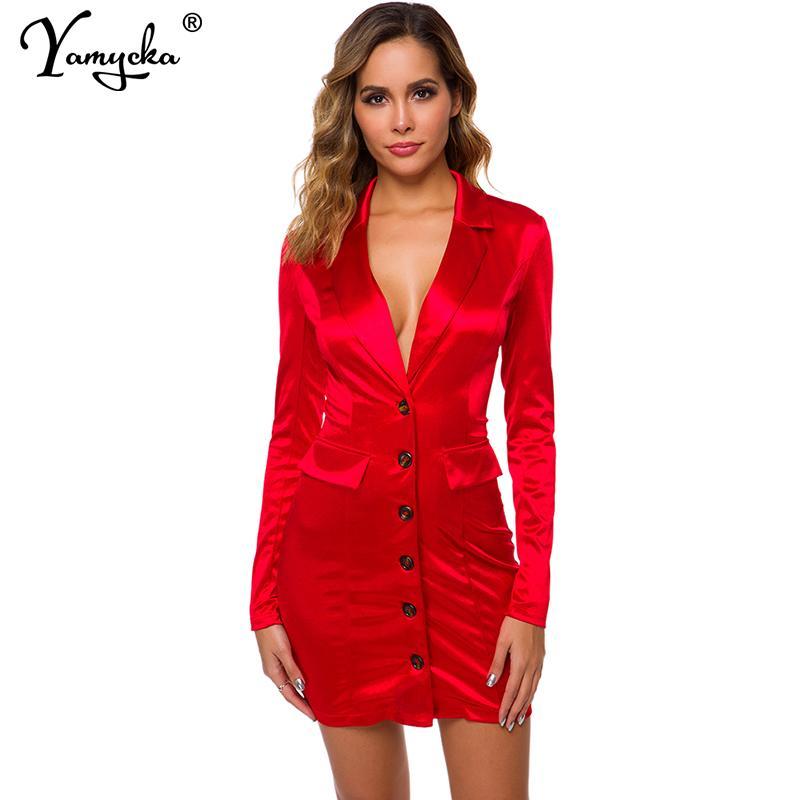 Sexy néon satin robe des femmes d'été entaillé à manches longues rouge Club rose jaune moulante Wrap robe de soirée élégante Bouton vestidos Nouveau