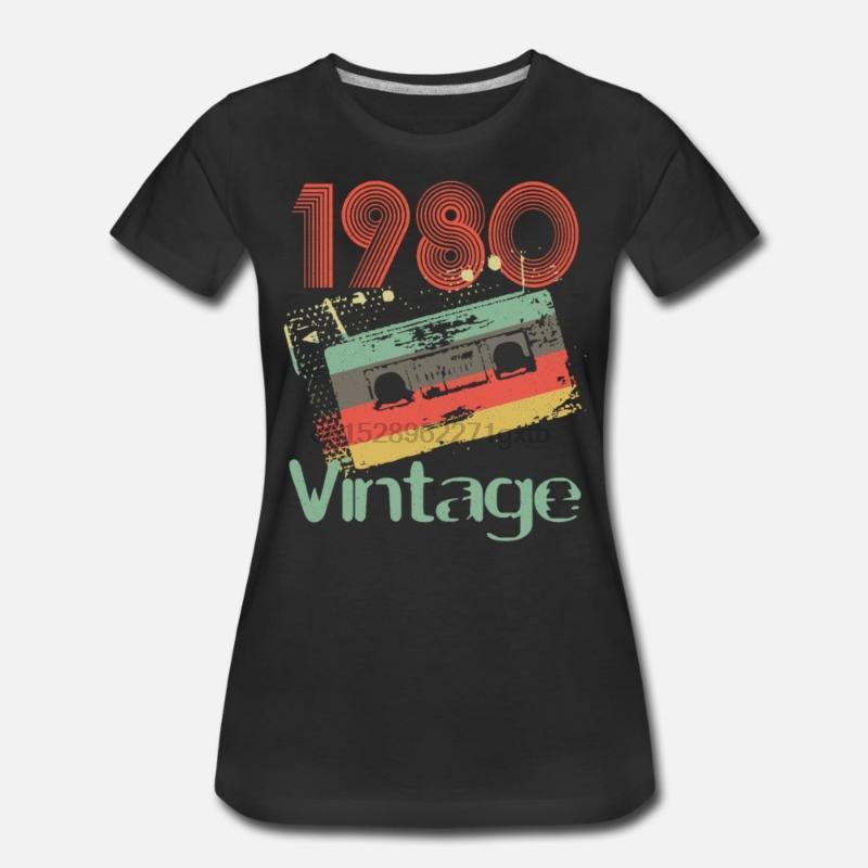T-shirts Hommes Hommes T-shirt 1980 Ruban mélangé T-shirt 40ème anniversaire Femmes