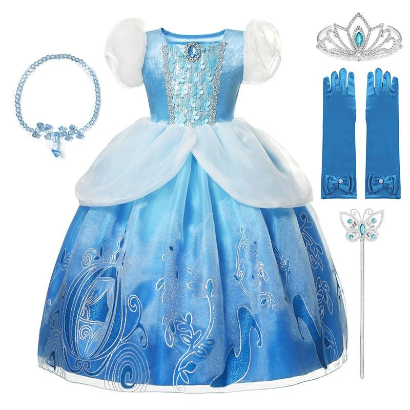 MUABABY Kızlar Deluxe Sindirella Prenses Giydirme Elbise Puff Kol payetli Frak elbisesi Çocuk Cadılar Bayramı Partisi Kostüm yazdır