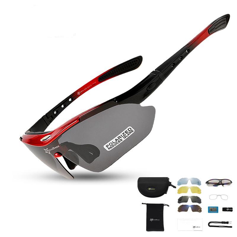 Fahrradbrillen Fahrrad MTB Bike Outdoor-Sport-Sonnenbrille UV400 Wasserdicht Polarisation mit Myopie Rahmen 5 Objektiv Ultralight 30 G