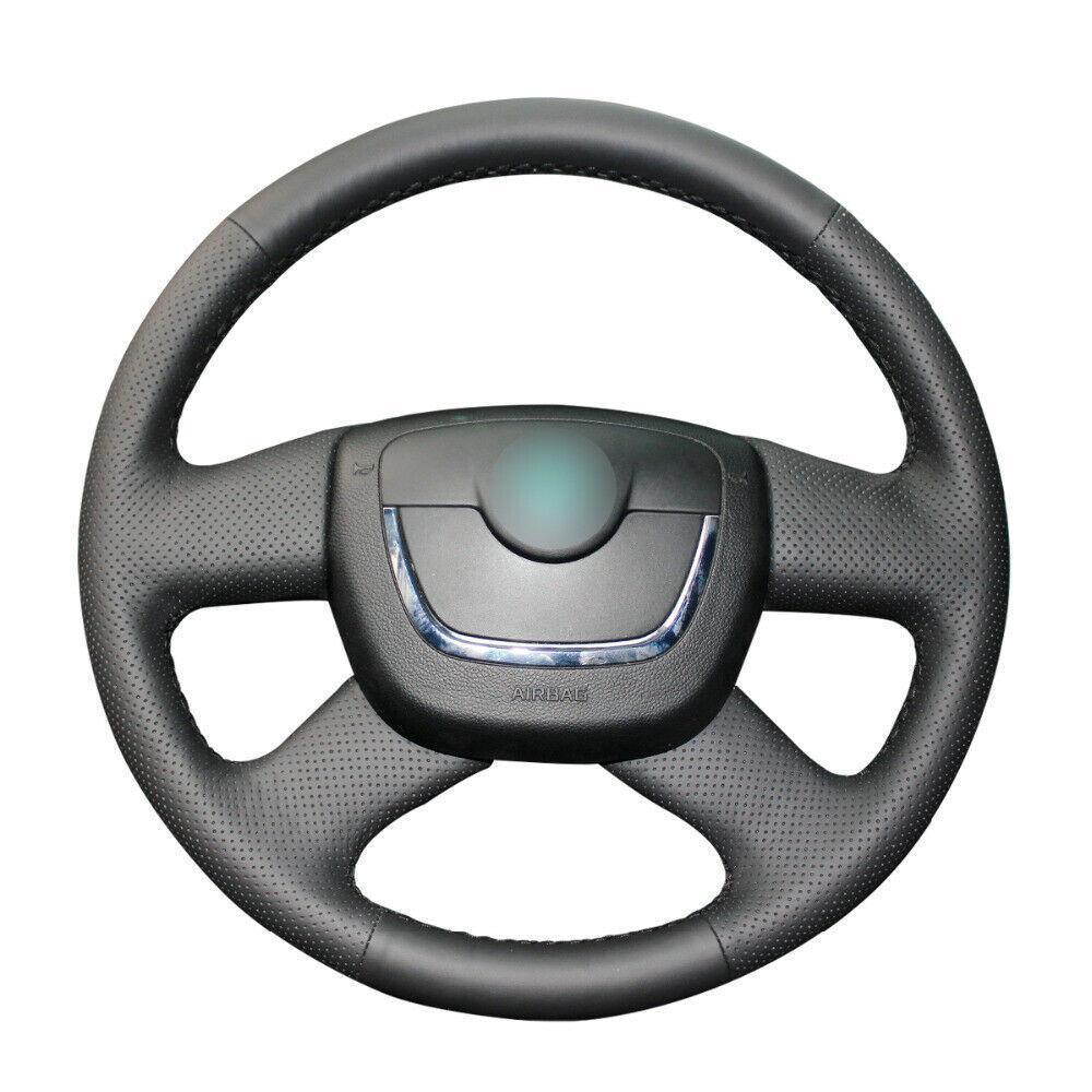 Cosido a mano Negro de piel cubierta de la rueda del coche para Skoda Octavia Excelente