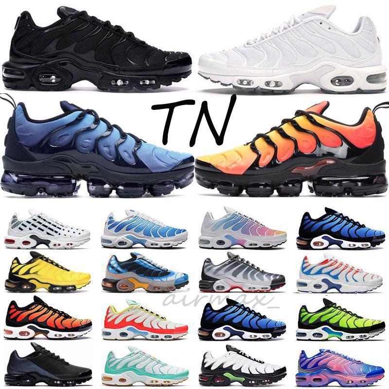 Top qualité TN plus chaussures de course hommes femmes blanc Triple noir Fade Bleu Rose Hero Vibrant formatrices d'Tropical Sports