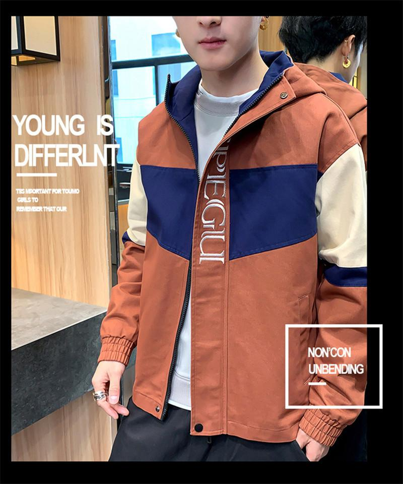 Mens Patchwork Zipper Coats Hooded Collar Long Sleeved Letter Jacket Mens Spring Autumn Contrast Color Jacket with Pockets