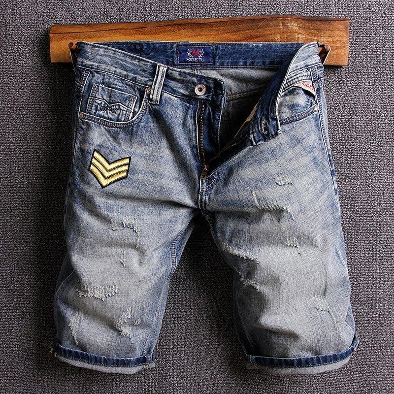 İtalyan Stili Moda Erkek Jeans Şort Retro Mavi Yamalar Tasarımcı Ripped Denim Şort Erkekler Yüksek Kaliteli Hip Hop Kısa Jeans