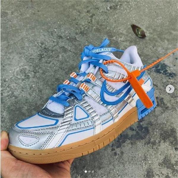 Tres Off White x Nike Air Goma Releasing Dunks Verano 2020 Universidad de Oro Negro / Verde Huelga gris / azul de los zapatos del patín de la vendimia