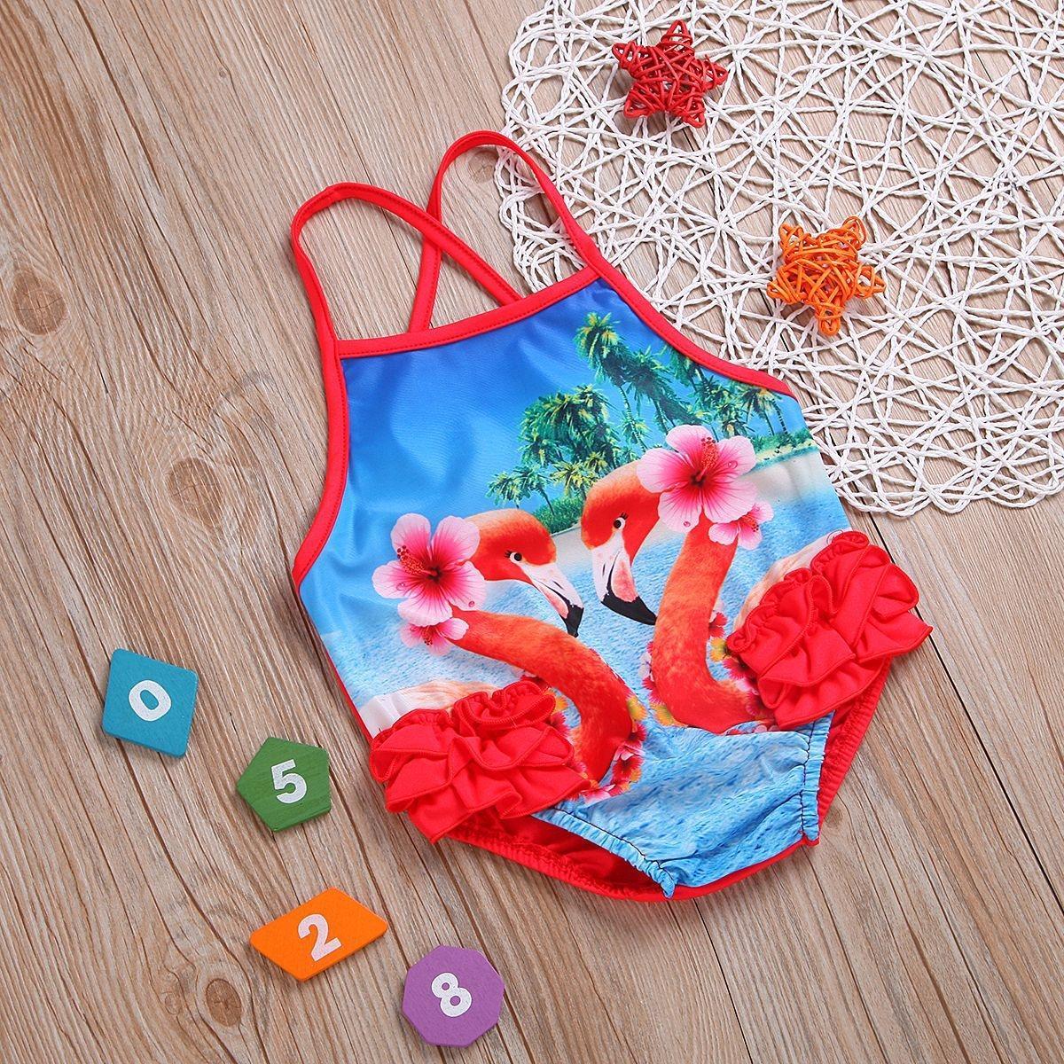 90qna Verão novo de alta qualidade da Internet' estilingue meninas ocidentais Flamingo swimsuit swimsuit de uma peça estilo havaiano celebridade Sling