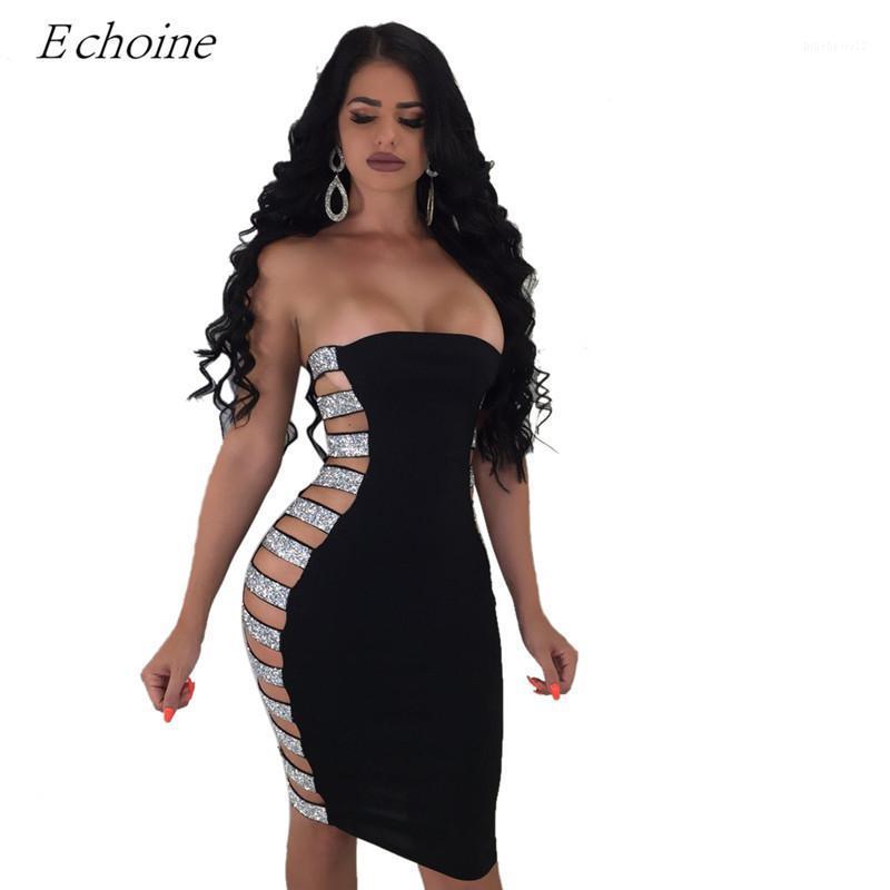 Partykleider Echoine-Seite Pailletten-Riemen aushöhlen Bodycon-Club-Kleid sexy trägerlose Bandage Midi-Nacht Mode Outfits1