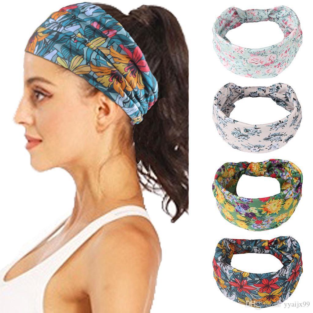 Large Fleur Bandeau Noeud Noble Scrunchy Twist Yoga Band Hair Turban Hairdband Bandage sur la tête pour les femmes