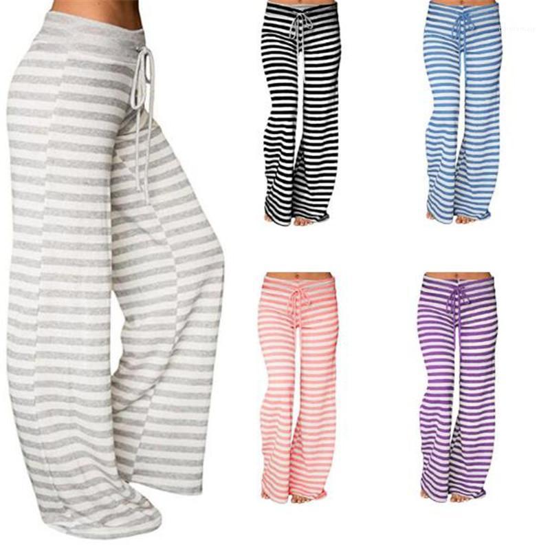 Gerade Hosen für Frauen Frauen Striped Yoga-Hosen-beiläufige weite Beine mit hohen Taille Relaxed Hosen-Sommer-Kordelzug