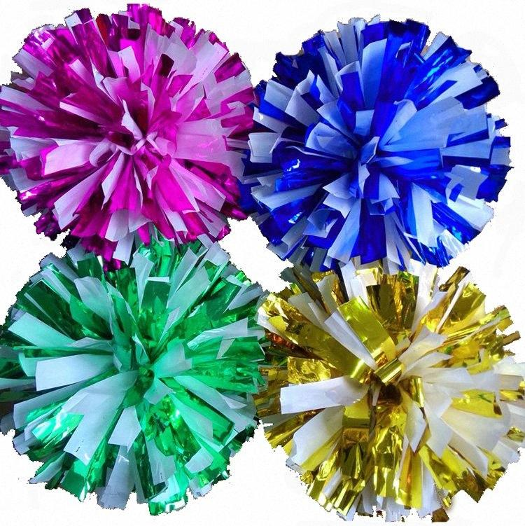 metal color mezclar pompones blancos de juego (20pieces / porción) Cheerleading pompón El mango puede elegir el color puede liberar combinación czrH #