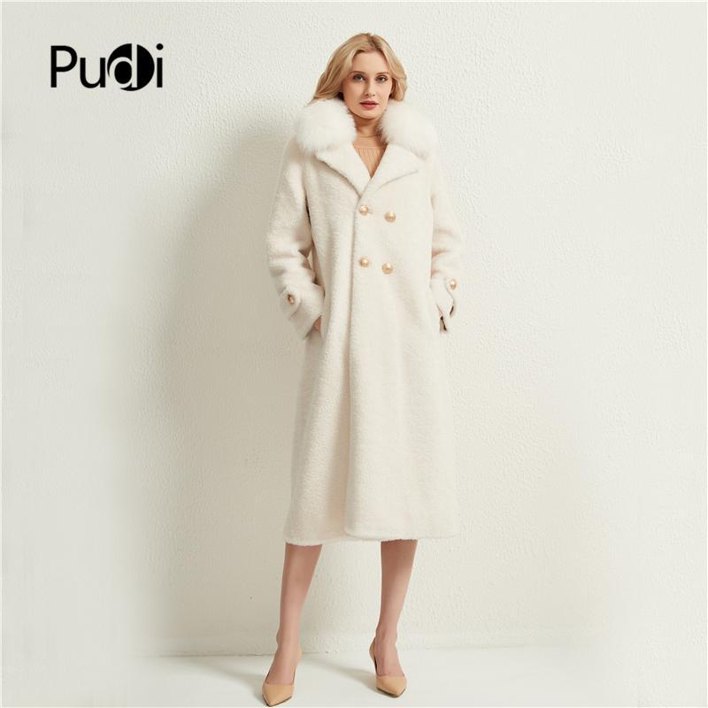 Pudi Kadınlar X-Uzun Gerçek Koyun Kürk Ceket Kadın Kış Tilki Kürk Yaka Ceketler Parka Siper H1706