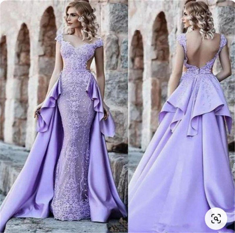 Purple Prom Dresses Modest Lace Evening Dress Plus Size Party Ball Gowns Special Occasion Dress Detachable Skirt Dubai robes de soire