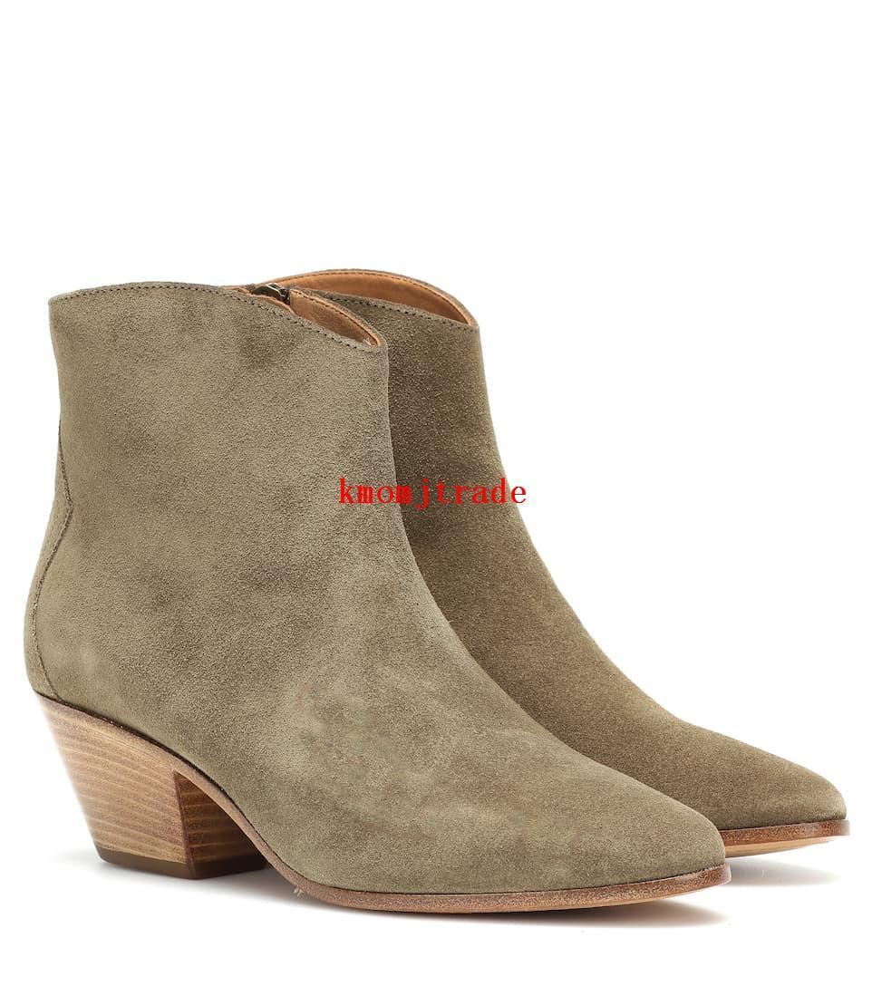 Pares de la mujer Isabel Marant Dacken gamuza tobillo botas de cuero genuino del ante de los cargadores del tobillo Dacken New Shoes