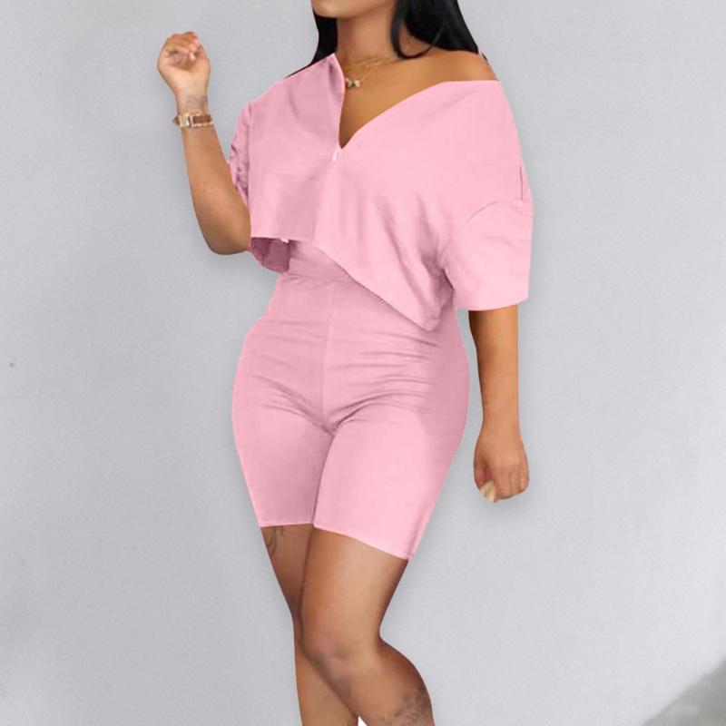 New Casual Tracksuit 2 piece set Crop Top + Pants Short Sleeve Deep V-neck Summer Cloth For Women Outfits Solid 6 Color