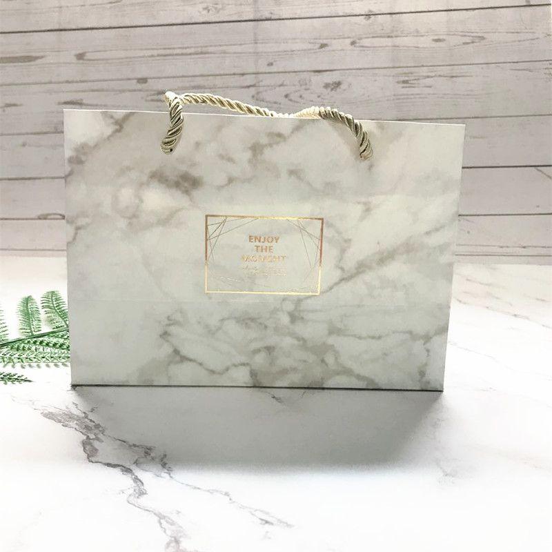 Petite boîte Marbre Couleur mariage vintage Bonbonnière sac-cadeau Kraft Papier d'emballage en carton Dragée Sacs Emballage cadeau Fournitures