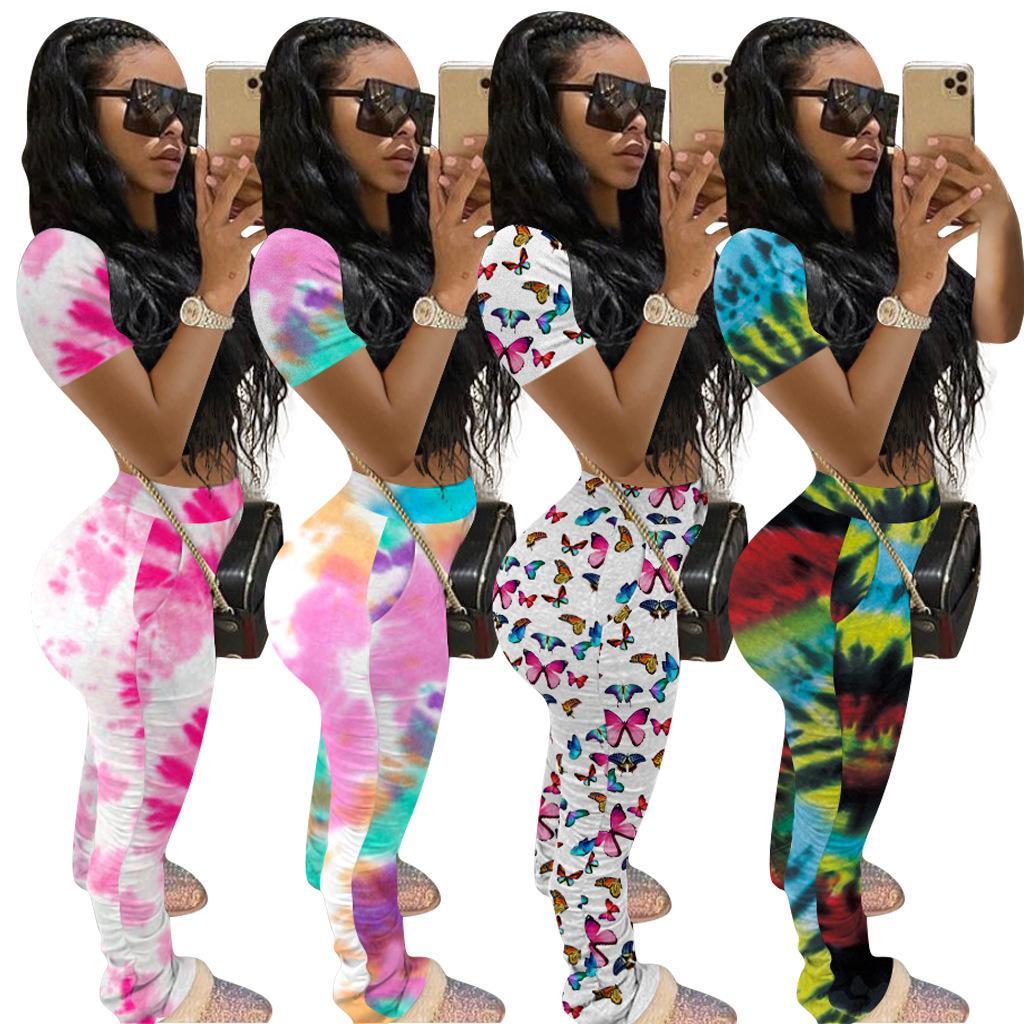 summer Designer Women Shorts Outfits Tracksuit Tie Dye Butterfly Shirt Top + Pants 2 Piece Pants Set Ladies Sweatsuits Clothes S-XXL