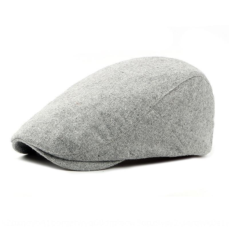 und mittleres Alter Hut älteren Herbst O2fvE Winter warm Warm Zipfelmütze Baskenmütze aus Wolle Barett Männer und Frauen im Freien britischen Vorwärts-Hut 2kqKU
