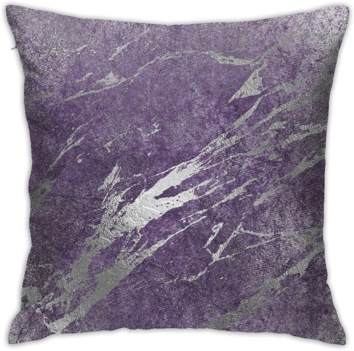 N/A Home Gift Pillow Sofa Cushion Silver Purple Gray Marble Shiny Metallic Strokes Couple party decoration 18X18inch(45CMX45CM)