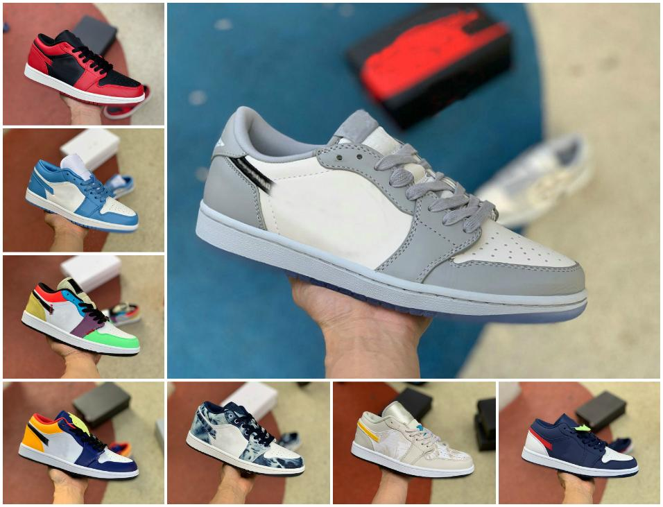 2020 Low 1 1s Jumpman basketball shoes emerald toe hyper royal UNC OG SP Travis Scotts court purple men women Reverse Bred sport Sneakers