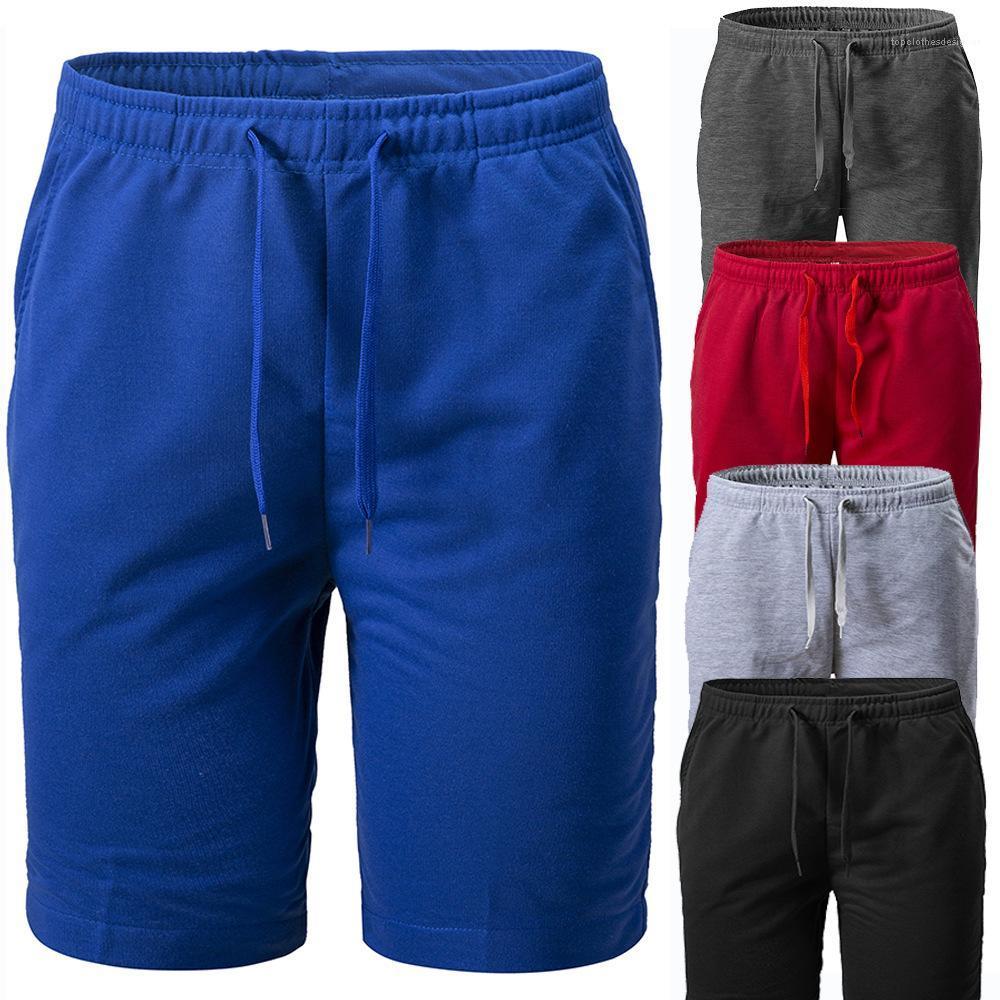Yaz Lace Up Orta Bel Casual Kısa Pantolon Erkek Şort Mens Katı Örme Şort