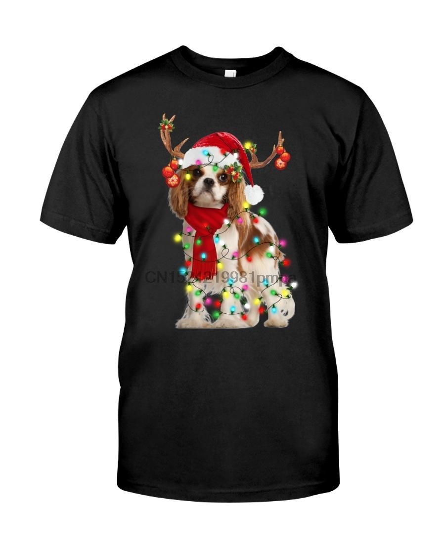 Erkekler Tişörtlü Cavalier King Charles Spaniel-Noel Dekor (1) Kadınlar tişörtleri