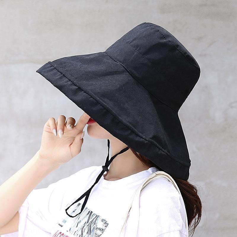 Künstlerische Sonne Allgleiches Gesicht deck koreanischen Stil große Traufe Fischer Hut Frauen Normallack Freizeit Sonnebeweis Sonnenhut Mode