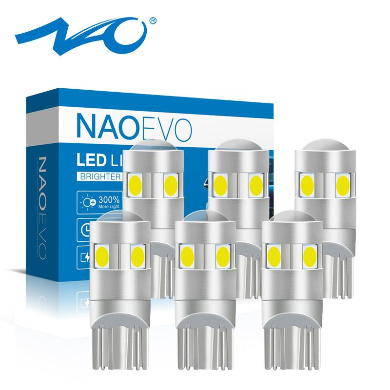 NAO 6x W5W led Lamp t10 LED Bulb Auto Lights Super Bright 1.6W 3030 SMD 194 168 12V 6000K White Amber Red Car Reading Lights