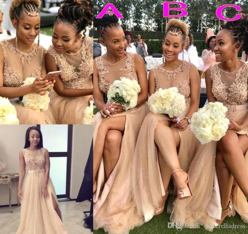 2020 estate di Boho Split una linea di abiti da sposa pura girocollo balze Appliques lunghi Plus Size damigella d'onore Abiti BM1980