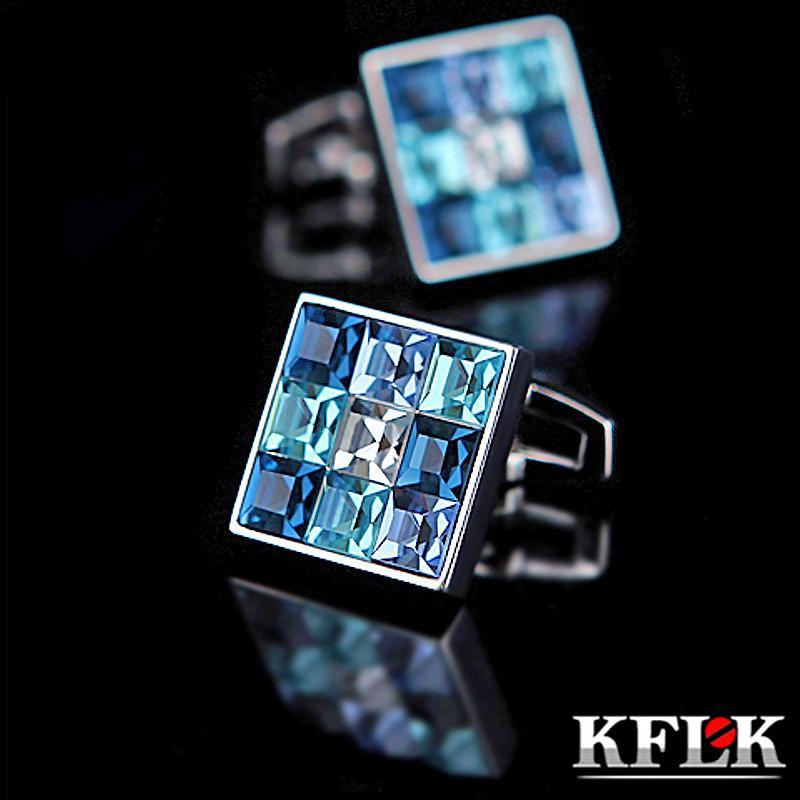 Kflk Gioielli camicia gemello per mens collegamento di marca di modo di cristallo del polsino di lusso blu pulsante sposa sposo trasporto libero di alta qualità