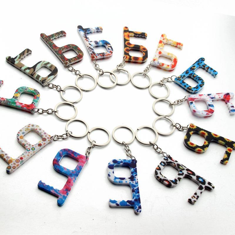 패션 열쇠 고리 꽃 엘리베이터 버튼 비접촉 도구 도어 핸들 키 그립 안전 보호 절연 없음 터치 오프너 자동차 키 체인 링