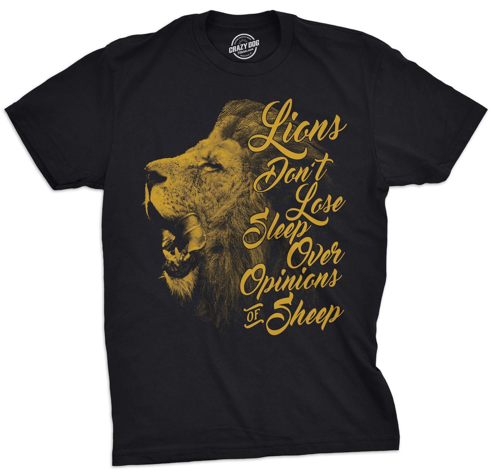 Mens leones Don Sleep perder más de las opiniones de las ovejas camiseta motivación atractiva camiseta unisex orgullo camiseta de los hombres Casual camiseta Moda