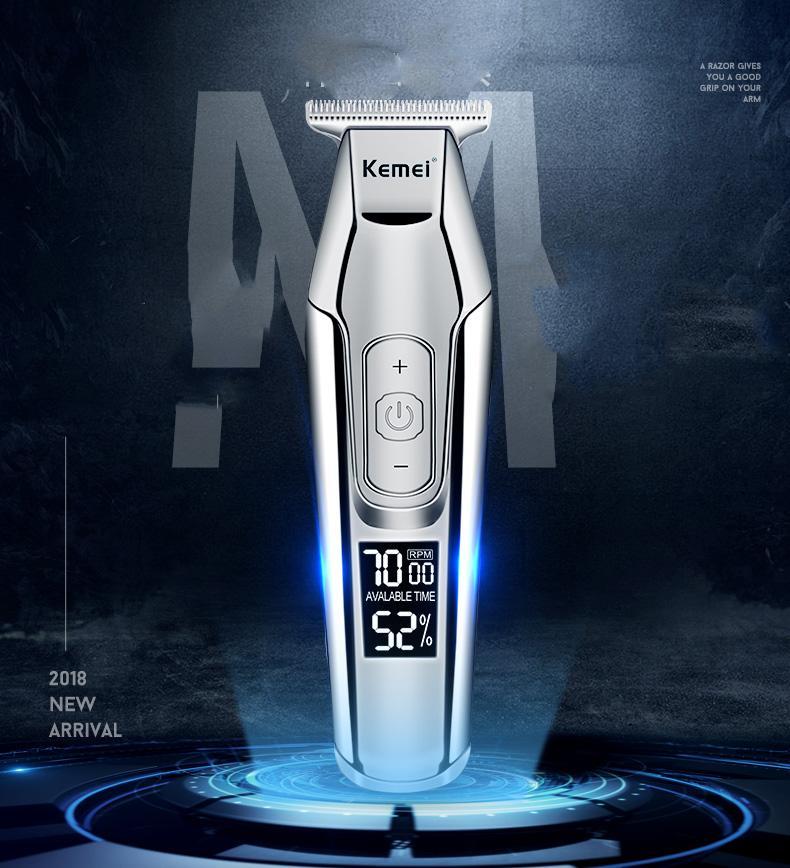 Kemei peluquero profesional de las podadoras de pelo Pantalla Lcd 0 mm calvo pelo de la barba del condensador de ajuste para los hombres de bricolaje cortador eléctrico del corte de pelo de la máquina HBIbj