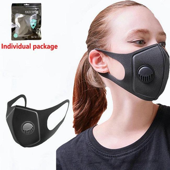 черный рот маска Губка маски пыле PM2.5 загрязнение Половина лицо Роты маски с Breath широких бретелек моющегося многоразового респираторе 600pcs