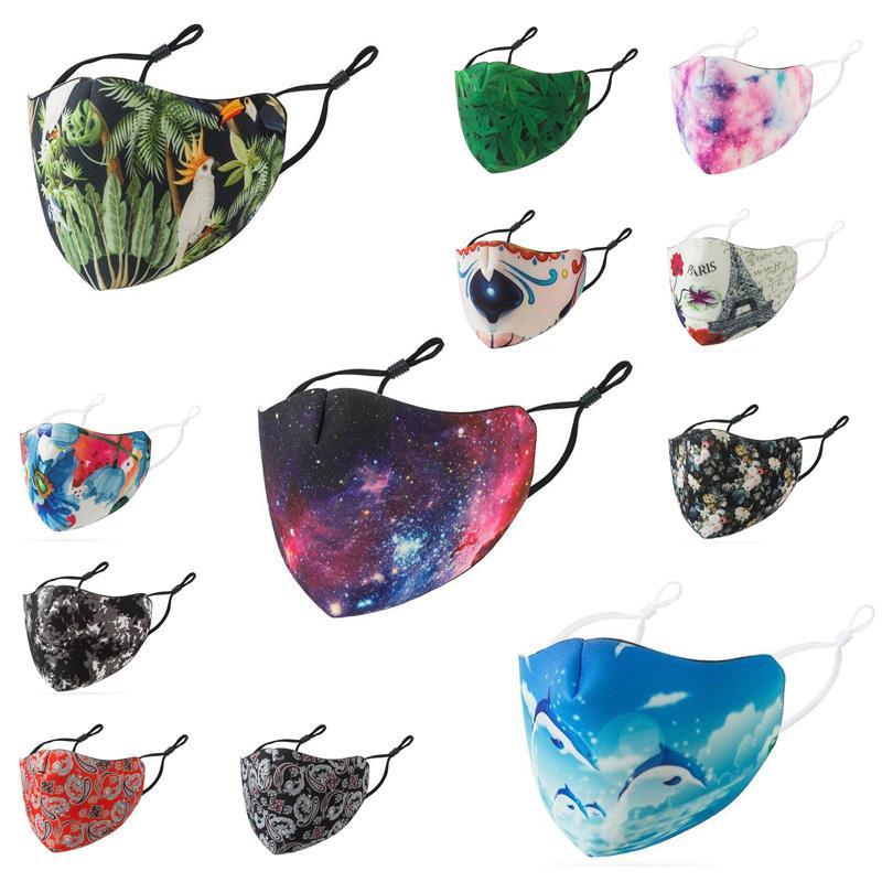 мода маски для лица мужчины женщины хлопок многоразовых масок для лица многоцветных взрослых Регулируемой уха пряжки дышащих маски мускус рта анти туман сумерек
