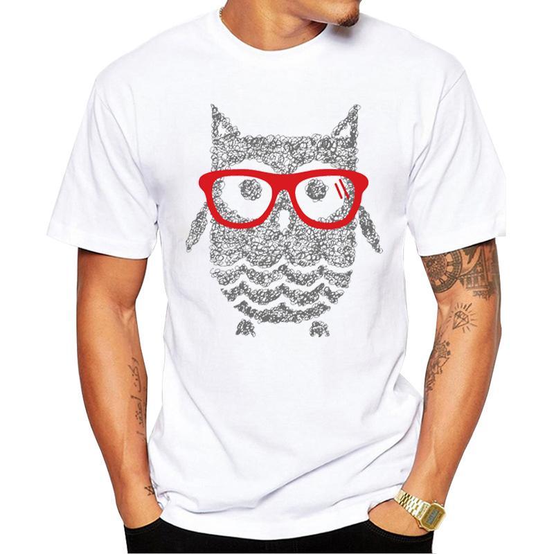 TEEHUB Moda Gözlük Baykuş Erkekler Tişört Kısa Kollu Casual Sevimli Baykuş Baskılı Yaz Tshirts Komik Tees Tops