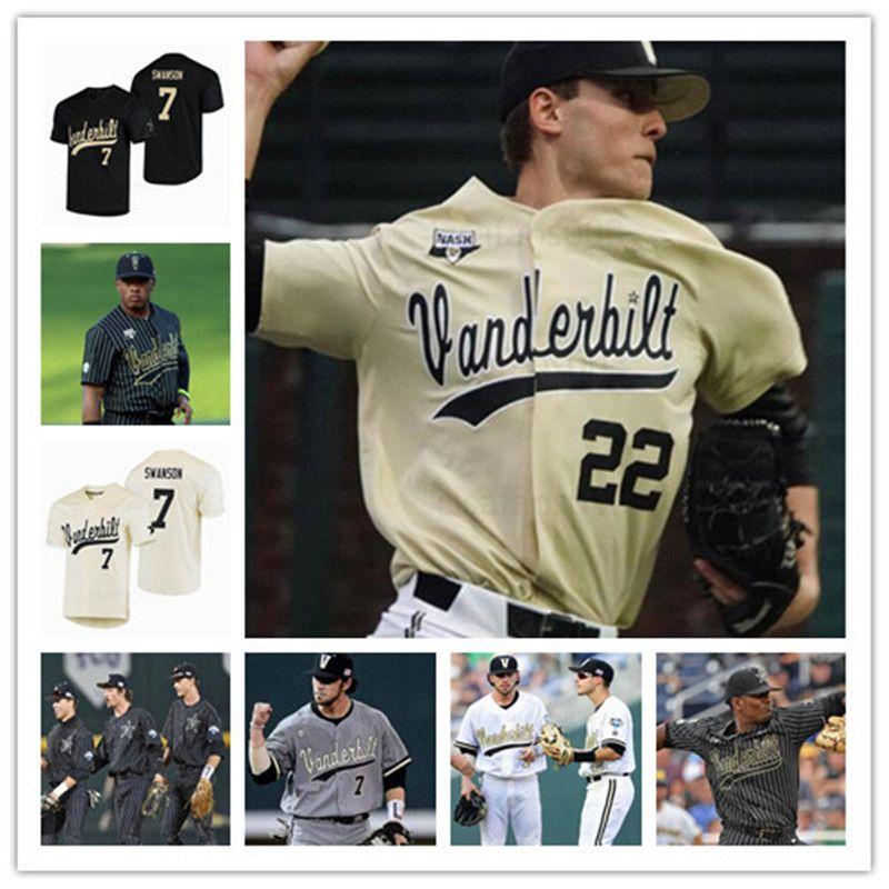 Ncaa vanderbilt comodores beisebol cws branco ouro negro jersey 7 swanson 2 harrison raio 80 balancim 13 buehler 14 preço