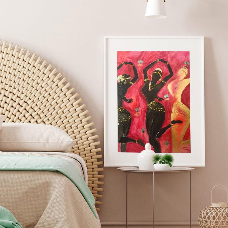 Lienzo nórdica cartel decoración del hogar Wall Art Prints la danza india clásica Marco de la pintura moderna Sala modular Imagen