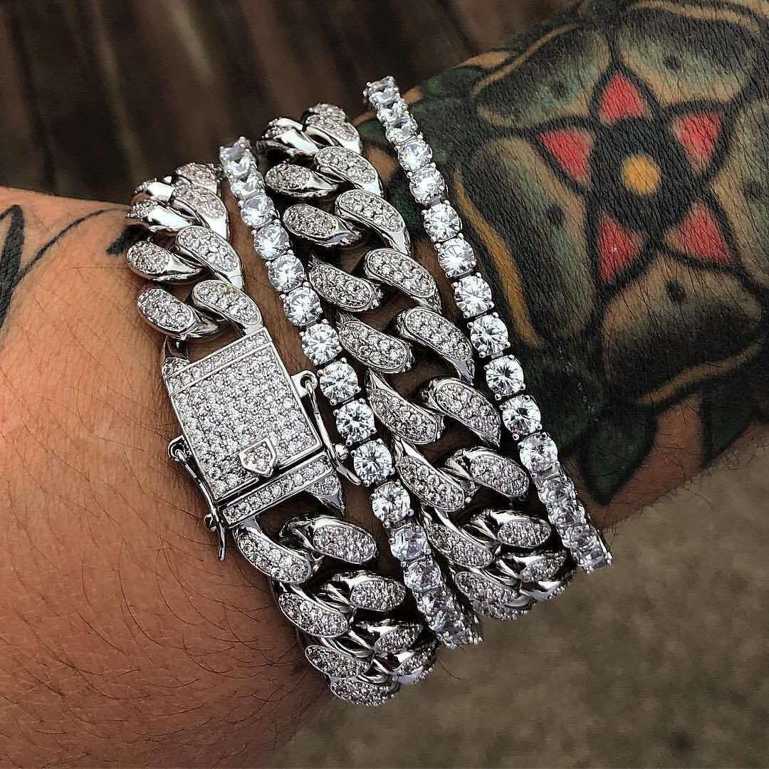2020 Oro Argento Bracciali gioielli gioielli con diamanti ghiacciato fuori la catena Miami cubana Catena Mens del braccialetto di Hip Hop