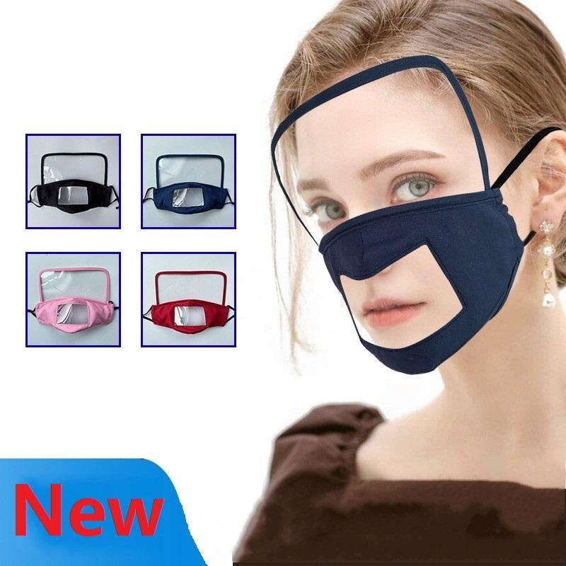Tasarımcı Yüz Temizle Pencere Görünür Pamuk Ağız Yüz Maskeleri Yıkanabilir Tekrar Kullanılabilir Maske ile sağır ve dilsiz dudaklar için Koruma Maske