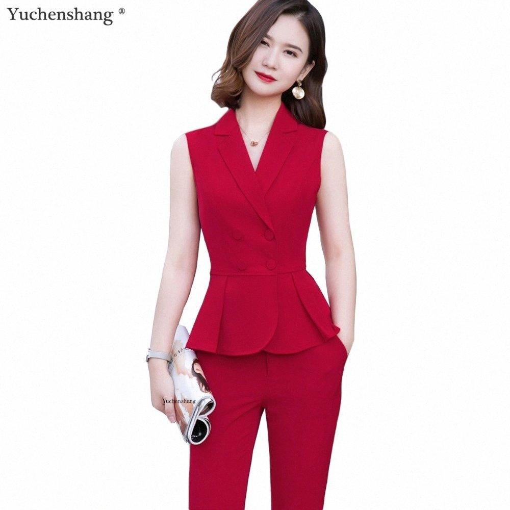 Estate di usura brevi donne del manicotto 2 piece set di moda Suit Pant Size S-4XL maglia sottile senza maniche Giacca Blazer con Pant Red 1EVB #