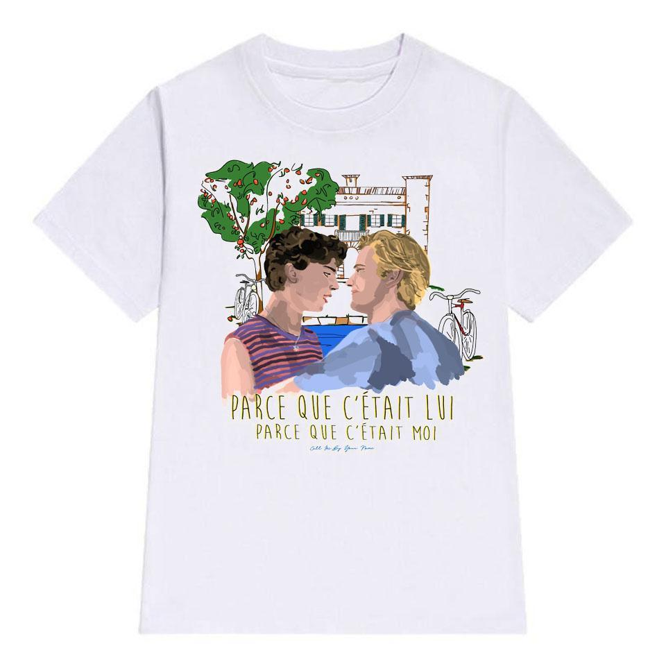 Me llama por tu nombre camiseta de los hombres ocasionales de algodón blanco para hombre de las camisetas del algodón del verano de alta calidad de manera de las tapas Camiseta