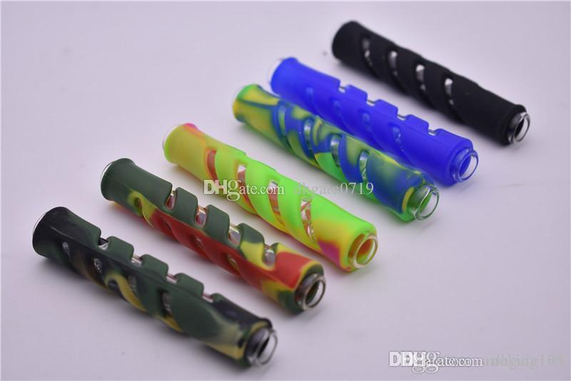 Neues Design Reise Rohr Dampfwalze handgefertigten Glas One Hitter Kawumm Tragbarer Dry herbe Tabakfilter Silikon-Schutzhülle