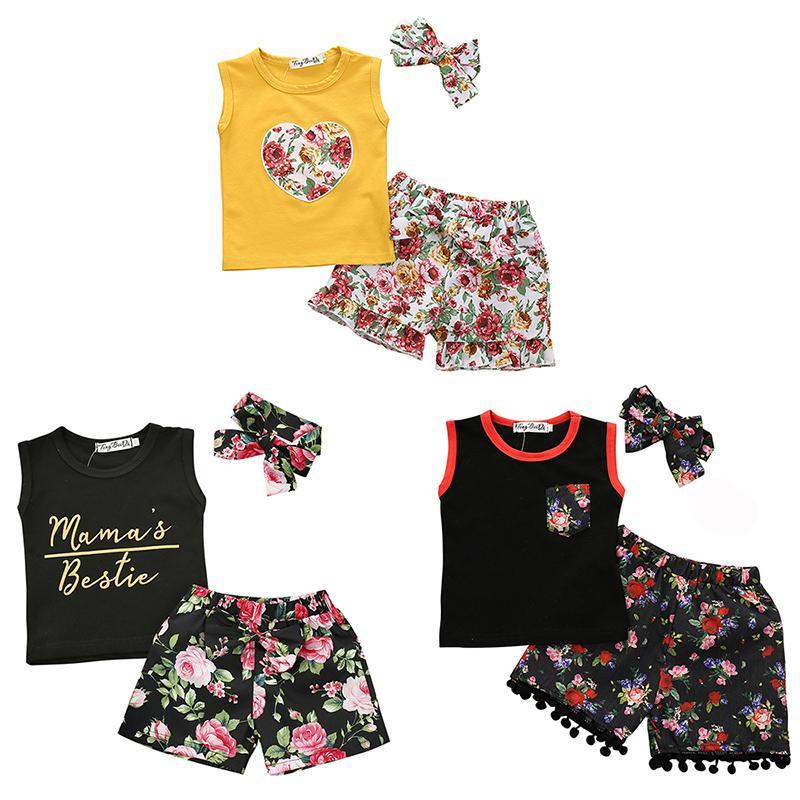 Дети Цветочные Одежда для детей цветка рукавов футболки Топы + Цветочные Шорты + Bow ободки 3шт / набор Summer Boutique Одежда для новорожденных Комплекты Z1270